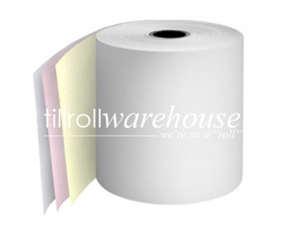 76mm 3 Ply Paper Rolls Carbonless White/Pink/Yellow Boxed 20s - 064