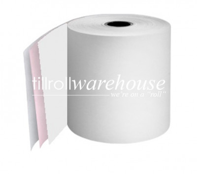 57 x 57 x 12.7mm Core 3 Ply Carbonless Paper Rolls White/Pink/White  Boxed 20s - 061