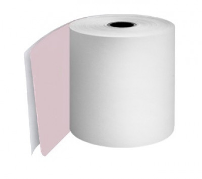 114 x 80 x 12.7mm Core 2 Ply Carbonless Paper Rolls White/White Boxed 10s - 107
