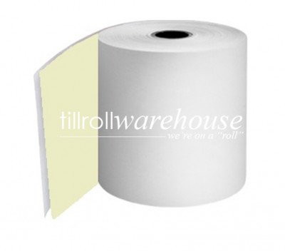 76mm 2 Ply Paper Rolls Carbonless White/Yellow Boxed 20s - 056