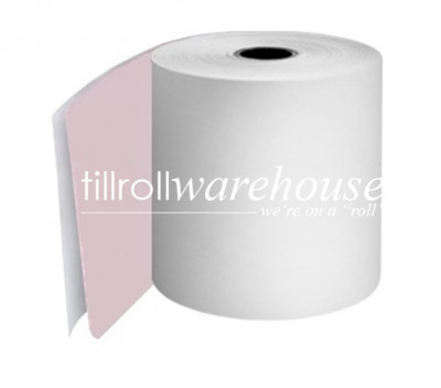 76mm 2 Ply Paper Rolls Carbonless White/Pink Boxed 20s - 055