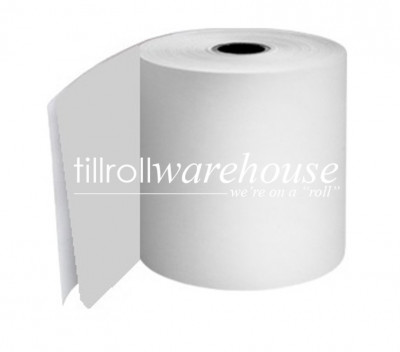 70 x 70 x 12.7mm Core 2 Ply Carbonless Paper Rolls White/White Boxed 20s - 053